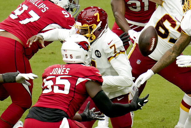 Arizona Cardinals linebacker Chandler Jones (55) recovers a fumble by Washington Football Team quarterback Dwayne Haskins (7) during the first half of an NFL football game, Sunday, Sept. 20, 2020, in Glendale, Ariz. (AP Photo/Ross D. Franklin)