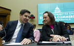 FILE - In this Feb. 13, 2019, file photo Sprint Corporation Executive Chairman Marcelo Claure, left, speaks with T-Mobile US CEO and President John Legere during the House Commerce subcommittee hearing on Capitol Hill in Washington. A federal judge has removed a major obstacle to T-Mobile's $26.5 billion takeover of Sprint, as he rejected claims by a group of states that the deal would mean less competition and higher phone bills. (AP Photo/Jose Luis Magana, File)