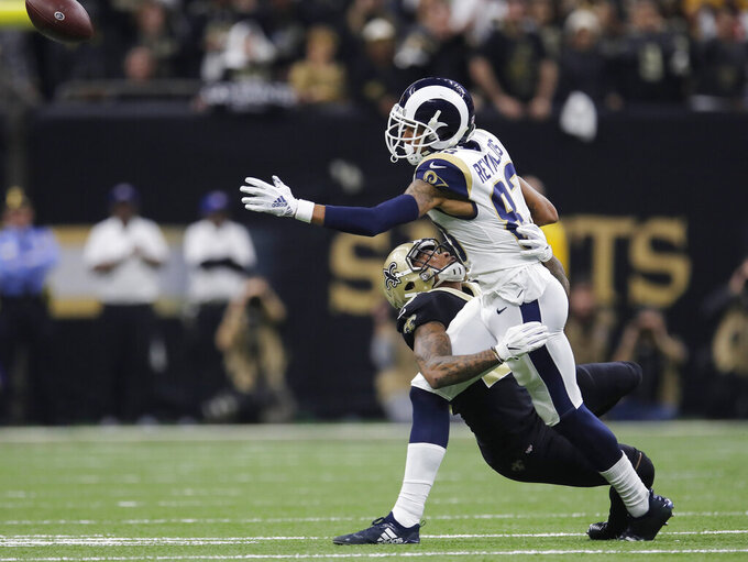 New Orleans Saints' P.J. Williams breaks up a pass intended for Los Angeles Rams' Josh Reynolds during the first half of the NFL football NFC championship game, Sunday, Jan. 20, 2019, in New Orleans. (AP Photo/Carolyn Kaster)