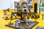 A Lego model of the Apollo 11 lunar lander is displayed in the company's store in New York on Tuesday, June 18, 2019. Hundreds of millions of people were riveted when Apollo 11 landed on the moon on July 20, 1969. Naturally, marketers jumped at the chance to sell products from cars and televisions, to cereal and a once-obscure powdered drink called Tang. They are at it again in 2019, as the 50th anniversary of the giant leap for mankind approaches. (AP Photo/Marshall Ritzel)