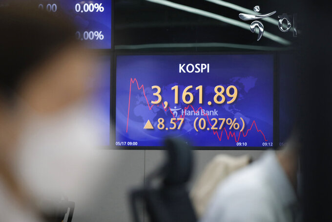 A currency trader watches computer monitors near a screen showing the Korea Composite Stock Price Index (KOSPI) at a bank's foreign exchange dealing room in Seoul, South Korea, Monday, May 17, 2021. Asian stock markets were mixed Monday after Taiwan and Singapore tightened anti-coronavirus restrictions and Wall Street turned in its biggest weekly decline in three months. (AP Photo/Lee Jin-man)