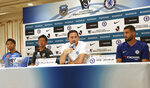 Chelsea manager Frank Lampard, second from right, speaks as his player Mateo Kovacic, right, Kawasaki Frontale manager Toru Oniki, second from left, and player You Kobayashi listen during a press conference in Yokohama, near Tokyo, Tuesday, July 16, 2019. Chelsea will play against J-League's Frontale in a friendly soccer match on Friday. (AP Photo/Koji Sasahara)
