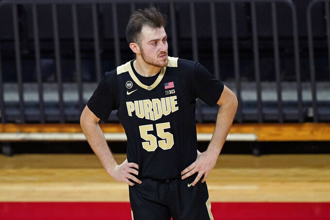Purdue guard Sasha Stefanovic (55) reacts during the second half of the team's NCAA college basketball game against Rutgers, Tuesday, Dec. 29, 2020, in Piscataway, N.J. Rutgers won 81-76. (AP Photo/Kathy Willens)