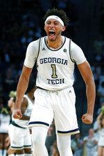 Georgia Tech forward James Banks III (1) reacts during the first half of an NCAA college basketball game against Louisville in Atlanta, Wednesday, Feb. 12, 2020. (AP Photo/Todd Kirkland)