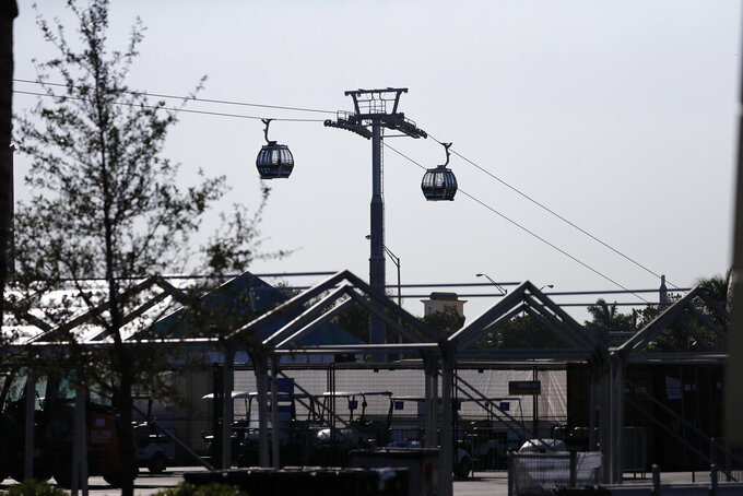 The new gondolas are seen near the Hard Rock Stadium on Tuesday, Jan. 21, 2020, ahead of the NFL Super Bowl LIV football game in Miami Gardens, Fla. (AP Photo/Brynn Anderson)