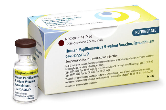 FILE - This undated image provided by Merck in October 2018 shows a vial and packaging for the Gardasil 9 vaccine. According to a study released on Wednesday, May 19, 2021, screening and the HPV vaccine have led to dramatic drops in cervical cancers over the last two decades in the U.S., but the gains are almost offset by a rise in other tumors caused by the virus. (Merck via AP)