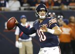Chicago Bears' Mitchell Trubisky throws during the second half of an NFL football game against the Green Bay Packers Thursday, Sept. 5, 2019, in Chicago. (AP Photo/Charles Rex Arbogast)