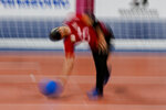 Algeria's Djalal Boutadjine throws the ball during a men's preliminary goal ball match against Japan at the Tokyo 2020 Paralympic Games, Wednesday, Aug. 25, 2021, in Chiba, Japan. (AP Photo/Kiichiro Sato)