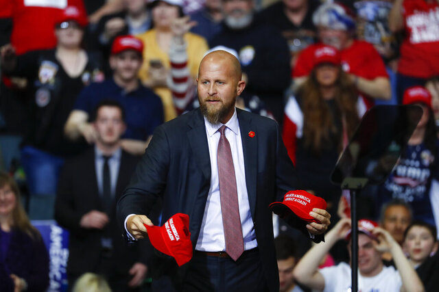 FILE - In this Thursday, March 28, 2019, file photo, Brad Parscale, manager of President Donald Trump's reelection campaign, throws