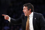 Georgia Tech head coach Josh Pastner speaks to his players during the first half of an NCAA college basketball game against the Wake Forest Saturday, Jan. 5, 2019, in Atlanta. (AP Photo/John Bazemore)