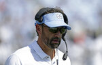 FILE - In this Sept. 22, 2018, file photo, North Carolina head coach Larry Fedora is seen on the sidelines during the first half of an NCAA college football game against Pittsburgh in Chapel Hill, N.C. Fedora's Tar Heels are coming out of an open weekend to face Virginia Tech. (AP Photo/Gerry Broome, File)