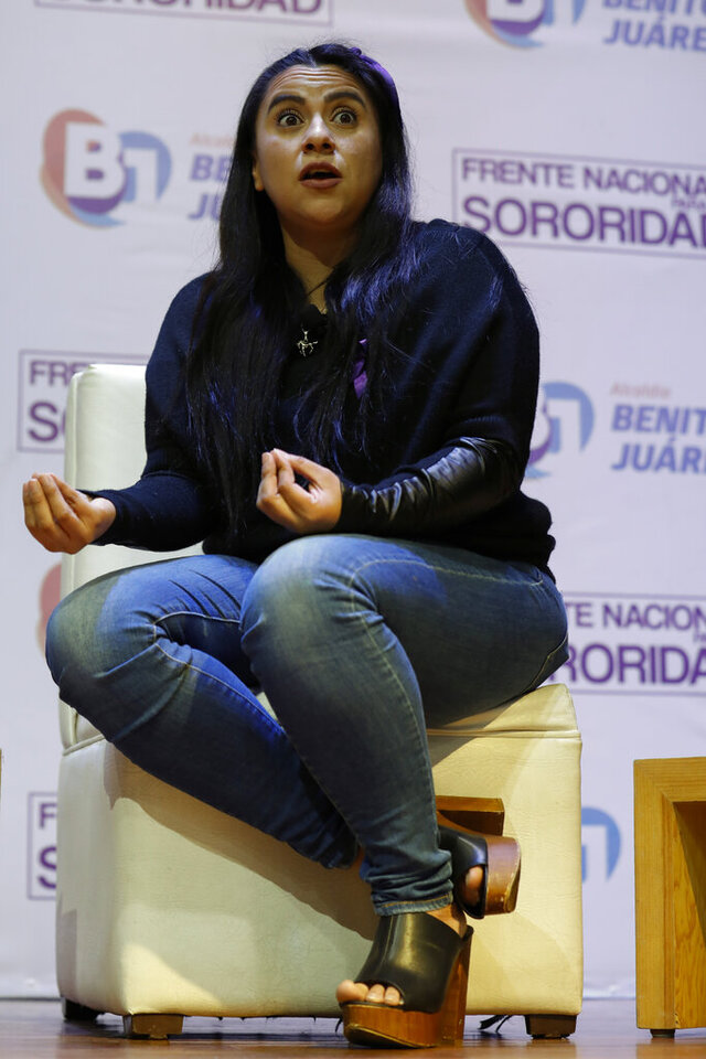 Olimpia Coral Melo, who became an activist against online sexual harassment and assault after a video of her having sex was published online in 2013, speaks during a live broadcast with Benito Juarez borough Mayor Santiago Taboada, in Mexico City, Monday, Nov. 23, 2020. Melo's story and subsequent activism have led to the creation of numerous state laws against cyber violence, and Mexico's government is on the verge of passing a federal version of