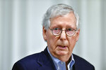 Senate Minority Leader Mitch McConnell of Ky., speaks to reporters about the ongoing situation in Afghanistan during a news conference in Louisville, Ky., Monday, Aug. 16, 2021. (AP Photo/Timothy D. Easley)