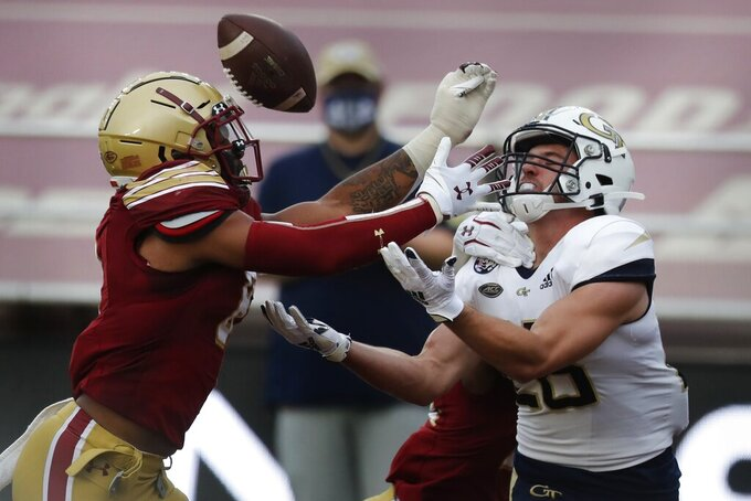 Boston College defensive back Jahmin Muse, left, breaks up a pass intended for Georgia Tech wide receiver Josh Blancato during the first half of an NCAA college football game, Saturday, Oct. 24, 2020, in Boston. (AP Photo/Michael Dwyer)