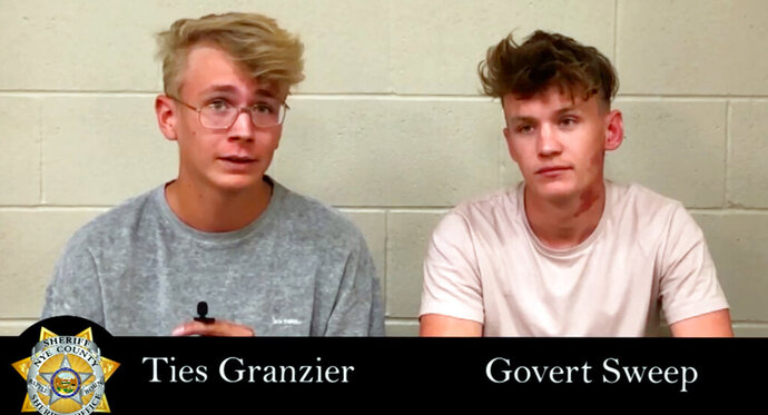 This image taken from video posted by the Nye County Sheriff's Office on Tuesday, Sept. 17, 2019, shows a recorded police interview with Dutch tourists Ties Granzier, left, and Govert Sweep, in the Nye County Jail in Pahrump, Nev. The pair, who wanted to take video of Area 51, have pleaded guilty to misdemeanor trespass and illegal parking following their arrests at the secure U.S. government site in Nevada. A judge on Monday, Sept. 16, 2019 sentenced both to three days in jail and fined them $2,280 apiece. Sweep and Granzier say they'll return to the Netherlands after their expected release Thursday. (Nye County Sheriff's Office via AP)