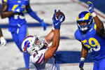 Buffalo Bills' Tyler Kroft (81) catches a pass for the game winning touchdown in front of Los Angeles Rams' Micah Kiser (59) during the second half of an NFL football game Sunday, Aug. 26, 2018, in Orchard Park, N.Y. The Bills won 35-32. (AP Photo/Adrian Kraus)