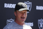 Oakland Raiders head coach Jon Gruden talks with reporters during NFL football minicamp Tuesday, June 11, 2019, in Alameda, Calif. (AP Photo/Eric Risberg)