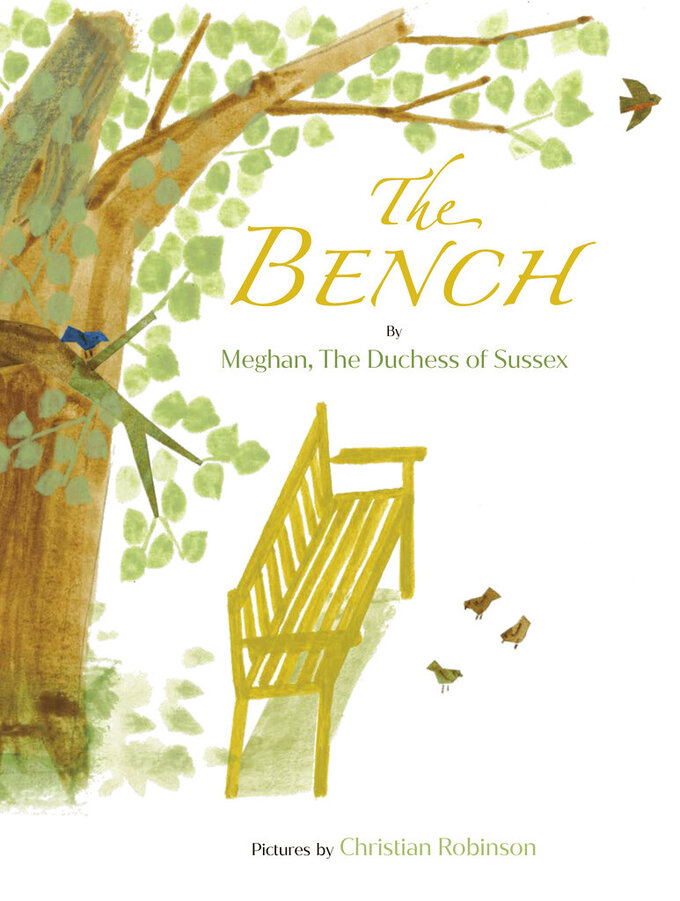 """This image released by Random House Children's Books shows """"The Bench,"""" a children's book by Meghan, The Duchess of Sussex, and with pictures by Christian Robinson. The book publishes on June 8. (Random House Children's Books via AP)"""