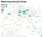 Map shows paths of peoples seeking asylum and other migrants across Europe;;