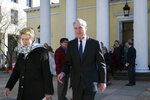 Special Counsel Robert Mueller, and his wife Ann, leave St. John's Episcopal Church, across from the White House, after attending morning services, in Washington, Sunday, March 24, 2019. Mueller closed his long and contentious Russia investigation with no new charges, ending the probe that has cast a dark shadow over Donald Trump's presidency. (AP Photo/Cliff Owen)