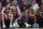 Lipscomb players react from the bench during the final minutes of the second half of the championship basketball game in the National Invitational Tournament against Texas, Thursday, April 4, 2019, at Madison Square Garden in New York. Texas won 81-66. (AP Photo/Mary Altaffer)