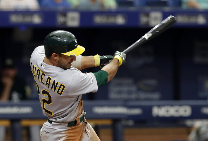 Oakland Athletics' Ramon Laureano connects for a grand slam off Tampa Bay Rays pitcher Colin Poche during the eighth inning of a baseball game Wednesday, June 12, 2019, in St. Petersburg, Fla. (AP Photo/Chris O'Meara)