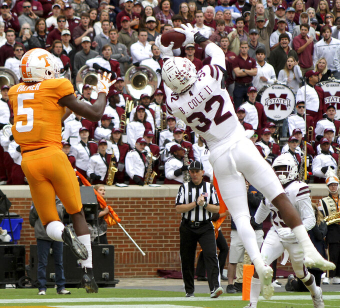 Mississippi State's Brian Cole II intercepts a pass to Tennessee's Josh Palmer in the end zone during an NCAA college football game Saturday, Oct. 12, 2019, in Knoxville, Tenn. (Tom Sherlin/The Daily Times via AP)
