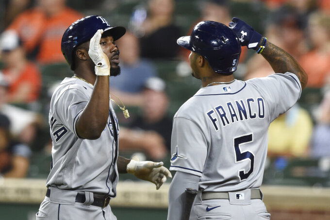 Tampa Bay Rays' Randy Arozarena, left is congratulated by Wander Franco after his two-run home run gainst the Baltimore Orioles during the eighth inning of baseball game Saturday, Aug. 28, 2021, in Baltimore. The Rays won 4-3. (AP Photo/Gail Burton)