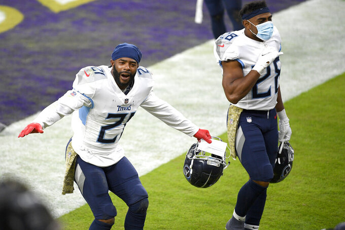 Tennessee Titans cornerback Malcolm Butler reacts after an NFL football game against the Baltimore Ravens, Sunday, Nov. 22, 2020, in Baltimore. The Titans won 30-24 in overtime. (AP Photo/Nick Wass)