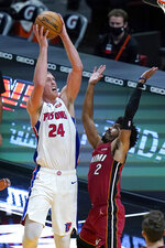 Detroit Pistons center Mason Plumlee (24) shoots over Miami Heat guard Gabe Vincent (2) during the second half of an NBA basketball game, Saturday, Jan. 16, 2021, in Miami. (AP Photo/Lynne Sladky)