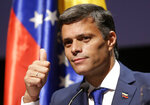 Venezuelan opposition leader Leopoldo Lopez gives the thumbs up during a news conference in Madrid on Tuesday, Oct. 27, 2020. Prominent opposition activist Leopoldo López who has abandoned the Spanish ambassador's residence in Caracas and left Venezuela after years of frustrated efforts to oust the nation's socialist president is holding a news conference in Madrid. (AP Photo/Andrea Comas)