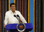 Philippine President Rodrigo Duterte pauses 4th State of during his 4th State of the Nation Address at the House of Representatives in Quezon city, metropolitan Manila, Philippines Monday July 22, 2019. (AP Photo/Aaron Favila)