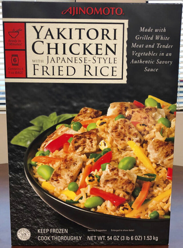 "This photo provided by the Food Safety and Inspection Service of the United States Department of Agriculture shows the packaging  ""Ajinomoto Yakitori Chicken With Japanese-Style Fried Rice."" A Mississippi company is recalling more than 86 tons of chicken fried rice because it may contain bits of plastic. A recall notice sent Friday, Nov. 22, 2019,  says Ajinomoto Foods North America Inc. of Oakland, Mississippi, reported the problem after customers complained. The U.S. Department of Agriculture's Food Safety and Inspection Service says it hasn't had any confirmed reports of injury or illness. (Food Safety and Inspection Service of the United States Department of Agriculture via AP)"