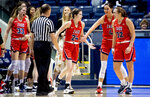 Gonzaga players celebrate around guard Katie Campbell (24) after she was fouled on her three-pointer during an NCAA college basketball game against BYU, Thursday, Jan. 2, 2020 in Provo, Utah. (Isaac Hale/The Daily Herald via AP)