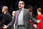 Toronto Raptors head coach Nick Nurse gestures toward an official during the first quarter of an NBA basketball game against the Brooklyn Nets, Wednesday, Feb. 12, 2020, in New York. (AP Photo/Kathy Willens)