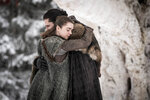 This image released by HBO shows Maisie Williams, left, and Kit Harington in a scene from