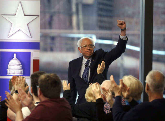 U.S. Sen. Bernie Sanders is greeted by audience members before a Fox News town-hall style event, Monday, April 15, 2019, in Bethlehem, Pa. (AP Photo/Matt Rourke)