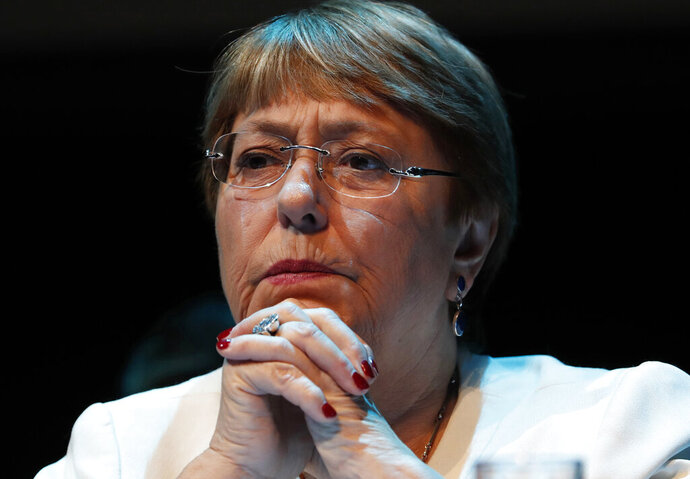 FILE-In this April 9, 2019 file photo Michelle Bachelet, United Nations High Commissioner for Human Rights, attends a press conference at the Cultural Center of Spain, in Mexico City. High Commissioner for Human Rights Michelle Bachelet has decided to send three human rights officers to Chile from Oct. 28-Nov. 22 to examine allegations of violations. (AP Photo/Marco Ugarte)