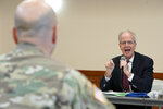 Sen. Jerry Moran, R-Kan., directs a question to Maj. Gen. Scott Spellmon, deputy commanding general, civil and emergency operations of the U.S. Army Corps of Engineers, during a field hearing of the Senate Committee on Environment and Public Works, in Glenwood, Iowa, Wednesday, April 17, 2019. The hearing was called to investigate the U.S. Army Corps of Engineers' Management of the 2019 Missouri River Basin Flooding. (AP Photo/Nati Harnik)