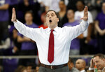 Iowa State head coach Steve Prohm instructs his team in the first half of an NCAA college basketball game against TCU in Fort Worth, Texas, Saturday, Feb. 23, 2019. (AP Photo/Tony Gutierrez)