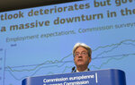 European Commissioner for Economy Paolo Gentiloni speaks during a media conference on the summer 2020 economic forecast at EU headquarters in Brussels, Tuesday, July 7, 2020. (AP Photo/Virginia Mayo, Pool)