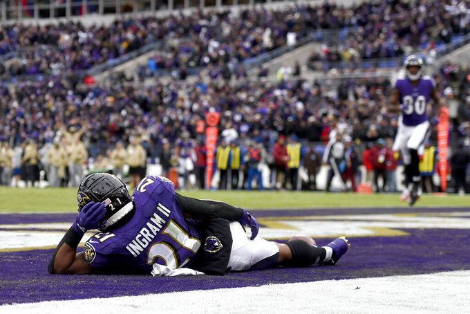Baltimore Ravens running back Mark Ingram rests on the end zone after scoring on a touchdown run against the Houston Texans during the second half of an NFL football game, Sunday, Nov. 17, 2019, in Baltimore. (AP Photo/Gail Burton)