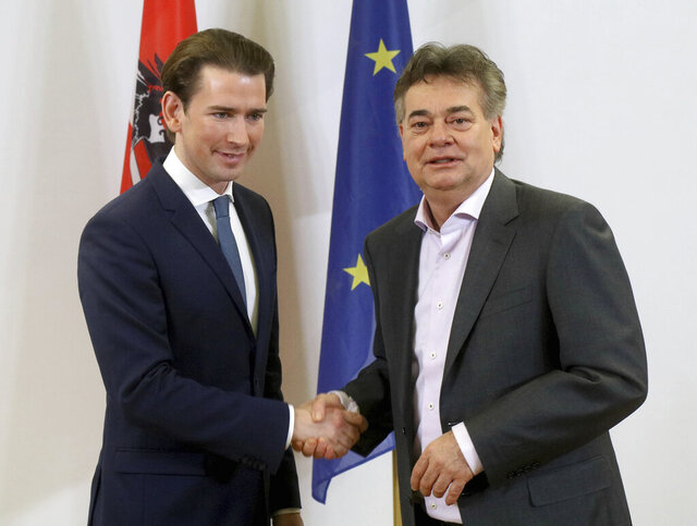 Sebastian Kurz, left, head of the Austrian People's Party, OEVP, shakes hands with Werner Kogler, right, head of the Austrian Greens during a press conference after finishing the coalition negotiations in Vienna, Austria, Wednesday, Jan. 1, 2020. (AP Photo/Ronald Zak)