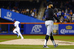 Miami Marlins pitcher Pablo Lopez (49) waits for a new ball after giving up a solo home run to New York Mets' Jeff McNeil during the third inning of a baseball game on Friday, May 10, 2019, in New York. (AP Photo/Adam Hunger)