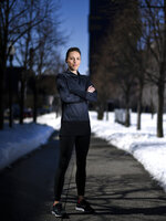FILE - In this April 17, 2018, file photo, Gabriele Grunewald poses for a portrait near Gold Medal Park in Minneapolis. Grunewald, one of the country's top middle-distance runners, has died at her home in Minneapolis after inspiring many with a long and public fight against cancer. She was 32. Her husband, Justin Grunewald, posted on Instagram about her death late Tuesday, June 11, 2019, and confirmed it Wednesday in a text to The Associated Press. (Aaron Lavinsky/Star Tribune via AP)