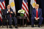FILE - In this Sept. 23, 2019 file photo, Egyptian President Abdel-Fattah el-Sissi speaks as he meets with President Donald Trump at the InterContinental Barclay hotel during the United Nations General Assembly, in New York. Egypt says it is facing an existential threat, as its southern neighbor Ethiopia races to complete a massive new dam upstream. But with no agreement on the horizon, Egypt finds itself with limited options. The White House earlier this month said that the U.S. supports negotiations to reach a sustainable agreement. (AP Photo/Evan Vucci, File)