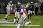 Ohio State tight end Jeremy Ruckert (88) scores a second-quarter touchdown against Penn State during an NCAA college football game in State College, Pa., Saturday, Oct. 31, 2020. (AP Photo/Barry Reeger)