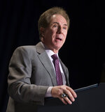 FILE - In this Feb. 2, 2015, file photo, former NASCAR race car driver Darrell Waltrip delivers the keynote address during the National Prayer Breakfast in Washington.  Waltrip will soon Boogity! Boogity! Boogity! his way into retirement. Everyone yearns for an opportunity to say farewell on their own terms, so with that, Waltrip should bring his second career as a NASCAR broadcaster to a close and squeeze out his classic catchphrase on his own terms as Fox Sports closes its portion of the broadcast deal. (AP Photo/Evan Vucci, FIle)