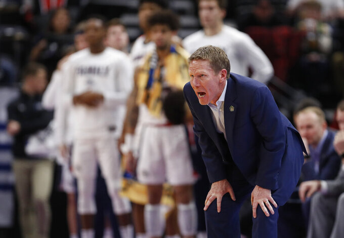 Gonzaga coach Mark Few stands along the sideline during the first half of a first-round game against Fairleigh Dickinson in the NCAA men's college basketball tournament Thursday, March 21, 2019, in Salt Lake City. (AP Photo/Jeff Swinger)