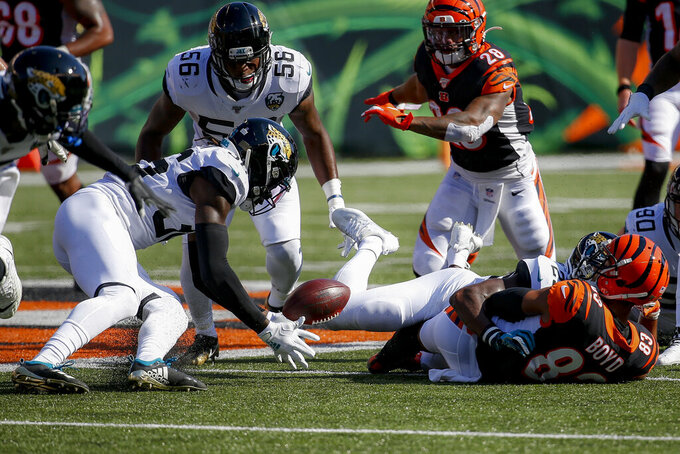 Jacksonville Jaguars defensive back Ronnie Harrison, left, recovers a fumble by Cincinnati Bengals wide receiver Tyler Boyd (83) in the second half of an NFL football game, Sunday, Oct. 20, 2019, in Cincinnati. (AP Photo/Frank Victores)